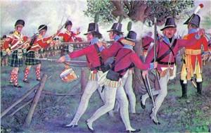 """Landeværnet mødte de engelske styrker ved Ølsemagle Lyng. Her ses de i kamp med det 92. skotske regiment """"The Gordon Highlanders""""."""