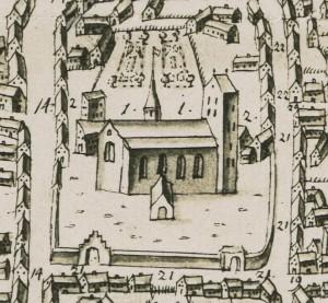 Kirken med tagrytter, set fra nord 1677- Køge Byhistoriske Arkiv