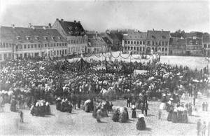 Indvielsen af statuen af Frederik 7. på Køge Torv.