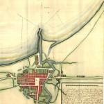 Søkortdirektør Jens Sørensens kort over Køge 1693, Rigsarkivet.