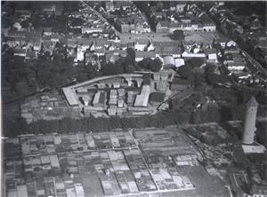 Luftfotografi af Blegdammen, foto fra Køge Byhistoriske Arkiv