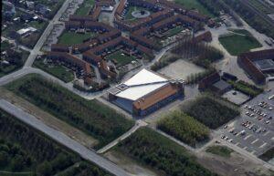 Køge Svømmeland set fra luften. Foto: Dagbladet Køge og Køge Byhistoriske Arkiv.