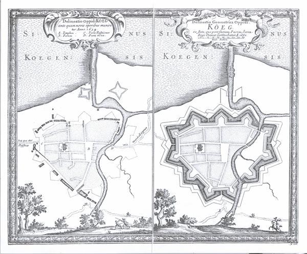Den svenske generalkvartermester Erik Dahlbergs kort over Køge fra 1659-1660