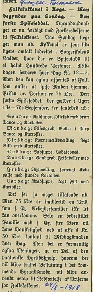 Artikel om Folkekøkken i Østsjællands Folkeblad 29.8.1918.