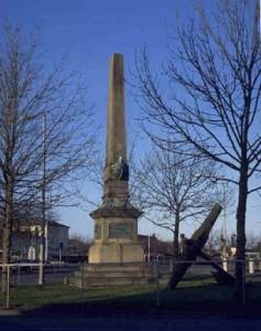 """Monument over """"Slaget i Køge Bugt"""", hjørnet af Toldbodvej og Havnepladsen"""