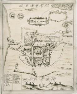 Peder Resens kort over  Køge 1677