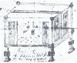 Niels Nielsens sikkerhedsbrudeseng. Fidusen ved denne seng var, at midt i den alkovelignende seng var der en træplade med et hul i ansigtshøjde, hvor man kunne kommunikere med modparten. Hvis man kom til et resultat, skulle begge trække i et reb på hver sin side, for så ville skillerummet blive hævet,